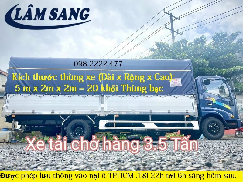 Xe tải chở hàng 3 tấn cho thuê tại 24 Quận Huyện TPHCM